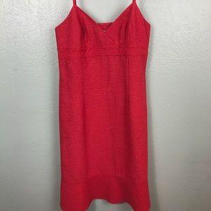 Halogen Red Dress peplum hem SZ 8 EUC